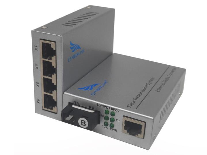 长飞 百兆 一光4电 单模单纤 CF-1014SW系列以太网光纤交换机是一款通过10Base-T或100Base-TX到100Base-FX之间的光电转换,