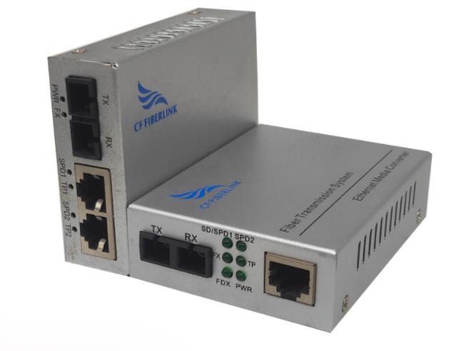 长飞 百兆 一光2电 单模双纤 CF-1012SW-20多电口光纤收发器(又称光纤交换机)是将以太网的电接口与光接口之间的转换