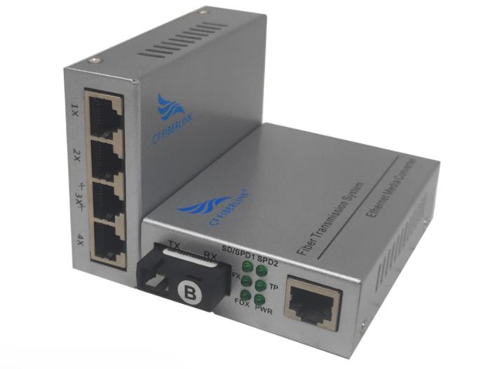 长飞 千兆 一光4电 单模单纤 CF-1014GSW-20系列以太网光纤交换机是一款通过10Base-T、100Base-TX或1000Base-T到1000Base-X之间的光电转换