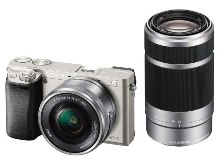索尼(SONY) Alpha 6000 APS-C画幅微单数码相机 SELP1650+SEL55210双镜头套装 银色(A6000/α6000)